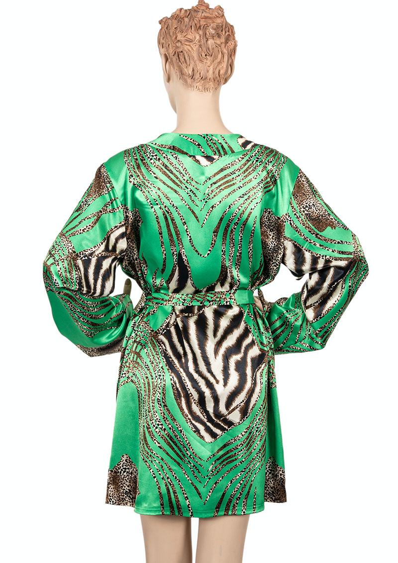 Kimono groen mix tijgerprint achter